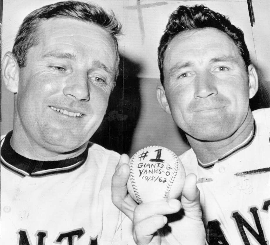 JACK SANFORD (1963): Sanford, shown here with manager Alvin Dark, won 24 games in 1962, leading the Giants to the World Series against the Yankees. He celebrates his Game 2 win here, but lost Game 7 to Ralph Terry in a 1-0 shutout. Photo: Chronicle File, The Chronicle / ONLINE_YES
