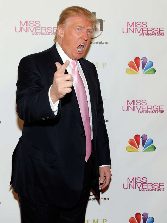 Donald Trump arrives at the 2012 Miss Universe Pageant at Planet Hollywood Resort & Casino on December 19, 2012 in Las Vegas, Nevada. Following a vigorous 12 months of shark jumping. (suggested by tedspe) Photo: David Becker, Getty Images / 2012 Getty Images