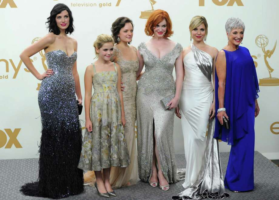 'Mad Men' cast in 2011, at the Emmys awards show. From L-R: Jessica Pare, Kiernan Shipka, Elisabeth Moss, Christina Hendricks, Cara Buono and Randee Heller. Photo: Alberto E. Rodriguez, Getty Images / 2011 Getty Images