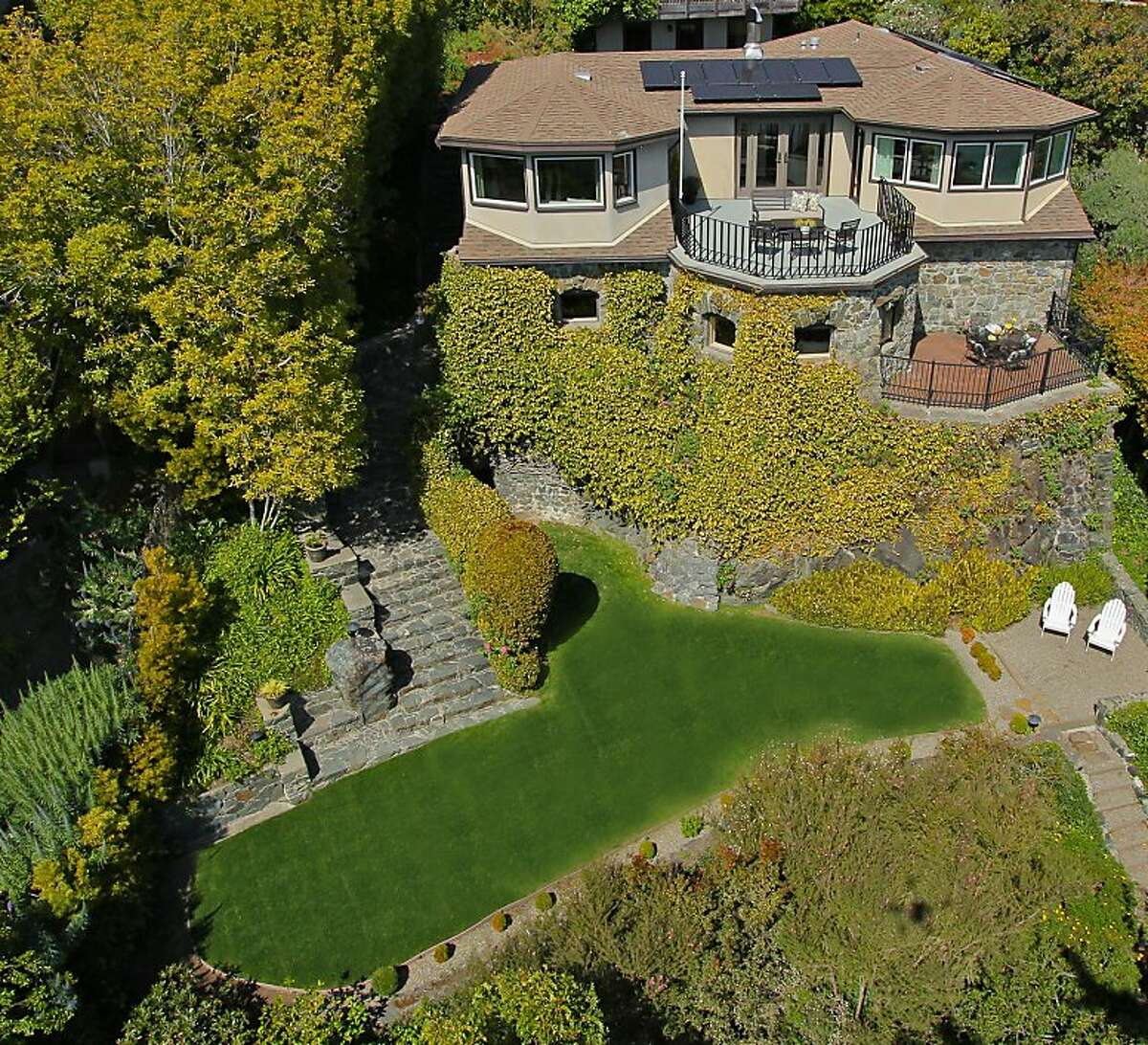 An aerial view of 34 Linda Vista Ave. in Tiburon, which was originally built in the 19th Century.