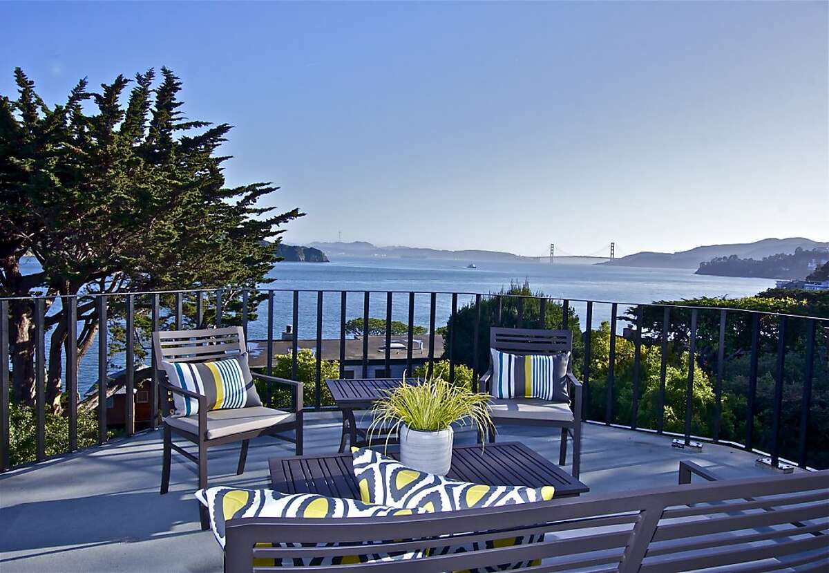 The upper level of the Tiburon home has view terraces looking at San Francisco Bay and the Golden Gate Bridge.