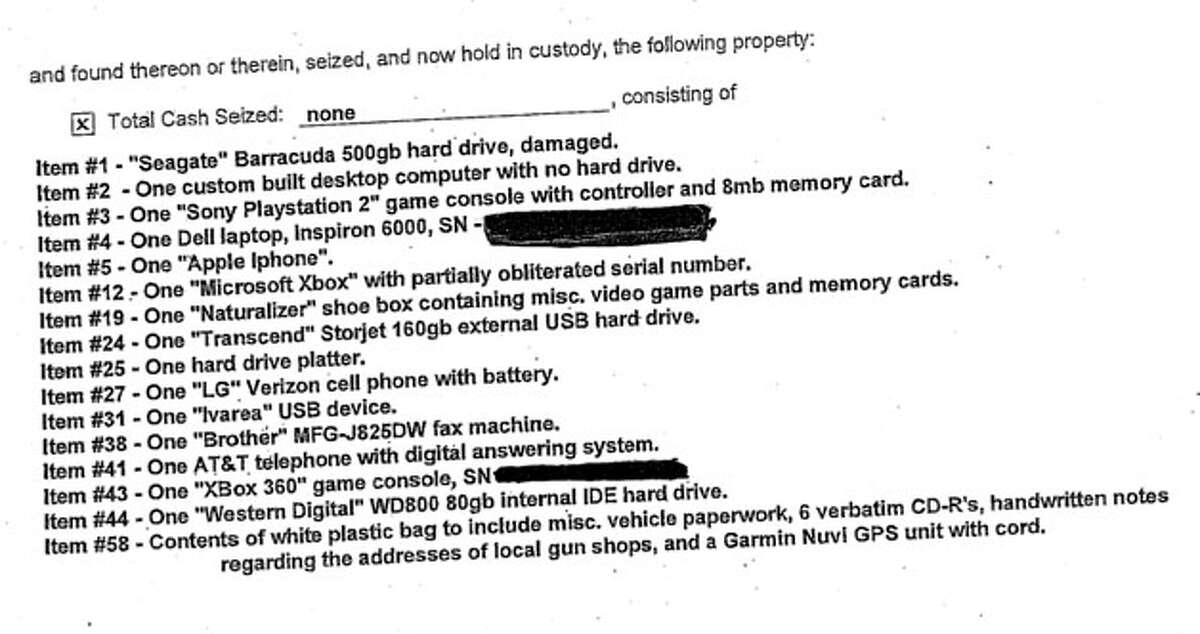 An excerpt from the second of five search warrants detailing property seized from Adam Lanza's house shortly after he went on a killing spree in Newtown. Click here to see the warrant and c lick here to see all five warrants.