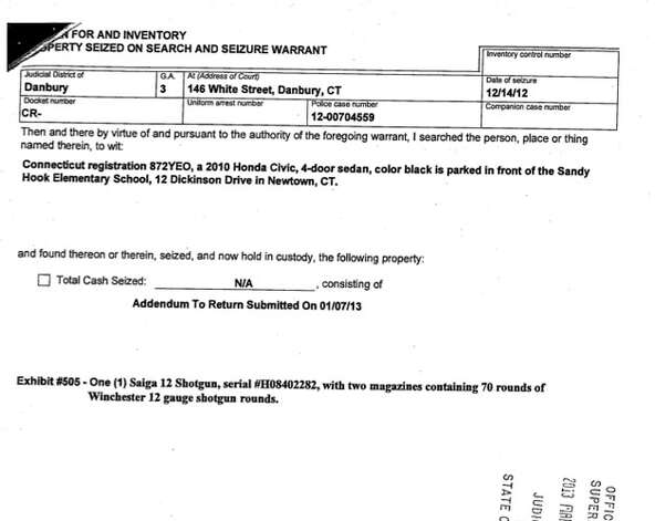 An excerpt from the third of five search warrants detailing property seized from Adam Lanza's house shortly after he went on a killing spree in Newtown. Click here to see the full warrant and