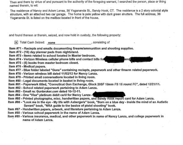 An excerpt from the fifth of five search warrants detailing proper