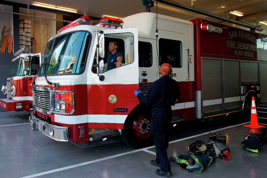 The Heavy Rescue unit heads out on a call at Fire Station No. 1 on Folsom Street in San Francisco. Photo: Paul Chinn, The Chronicle / ONLINE_YES