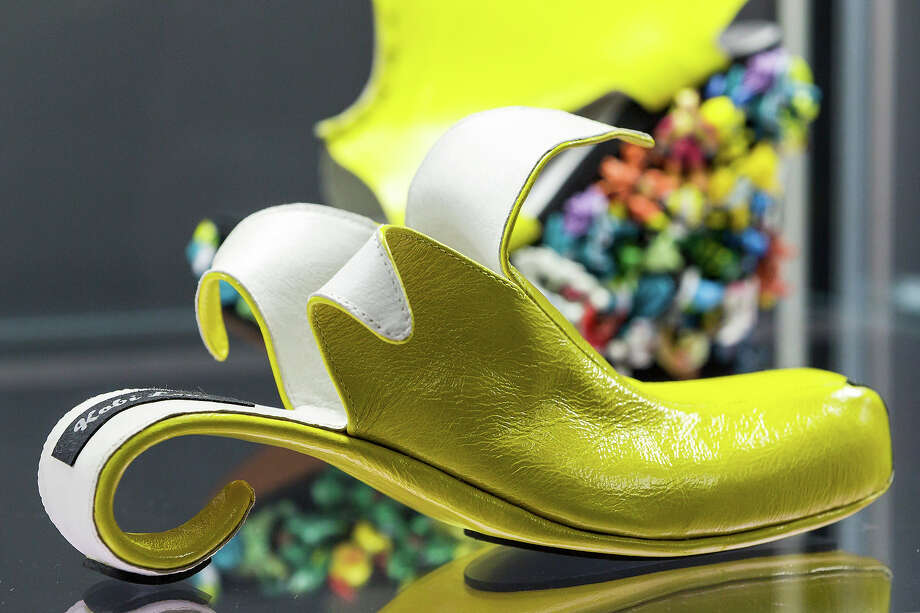 A shoe with the name 'Banana' designed for Whoopi Goldberg by Kobi Levi at the exhibition. Photo: Joern Haufe, Getty Images / 2013 Getty Images