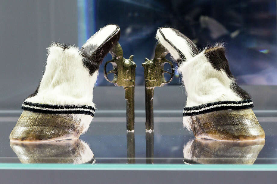 A pair of shoes with the name 'Cow Girl' designed by Iris Schieferstein at the exhibition. Photo: Joern Haufe, Getty Images / 2013 Getty Images