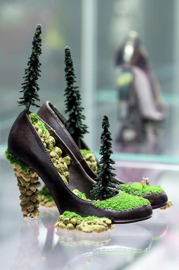A pair of shoes with the name 'Landscape Shoes' designed by Jared Steffensen at the exhibition. Photo: Joern Haufe, Getty Images / 2013 Getty Images