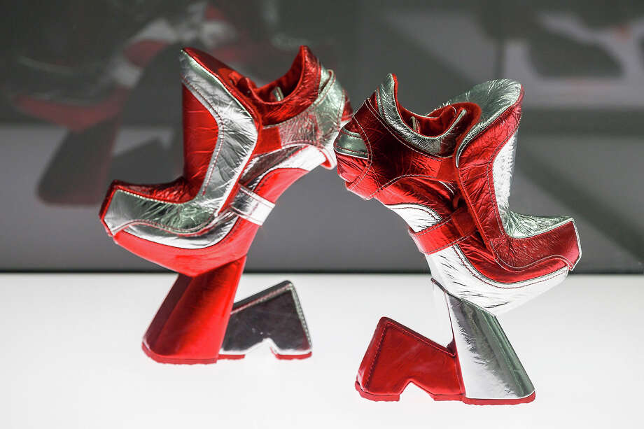 A pair of shoes with the name 'Flashes' designed by Jochen Kronier at the exhibition. Photo: Joern Haufe, Getty Images / 2013 Getty Images