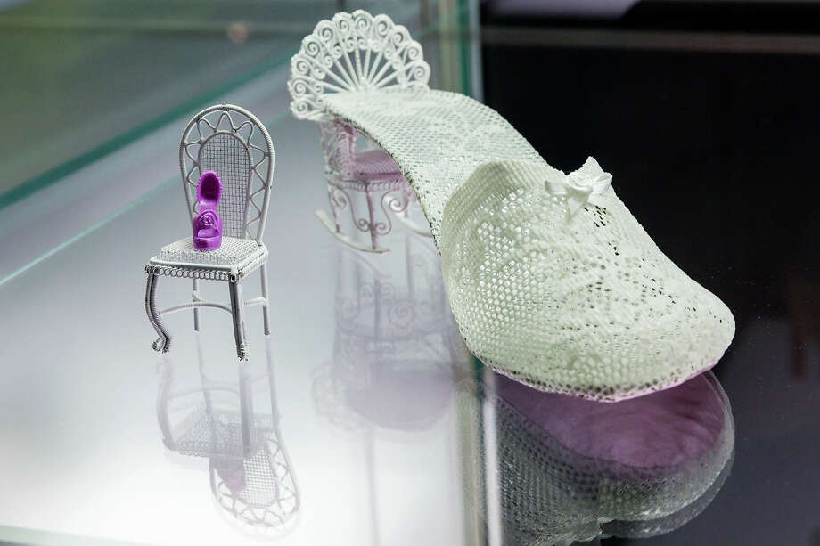 A shoe with the name 'Loulou' designed by Pinelopi Loizidou at the exhibition. Photo: Joern Haufe, Getty Images / 2013 Getty Images