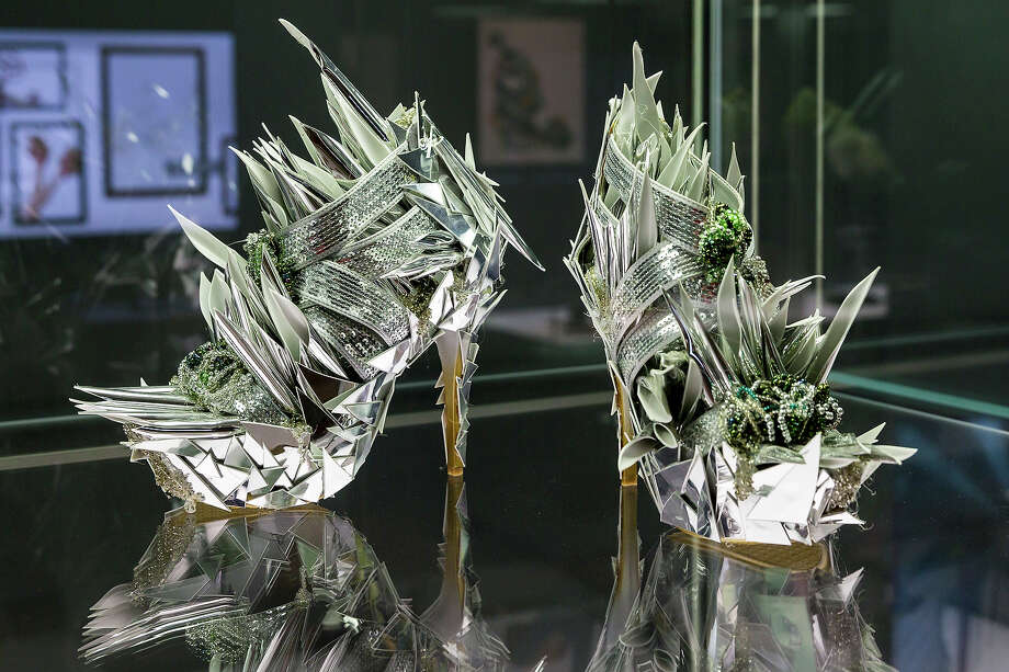 A pair of shoes with the name 'Ohne Titel' designed by Svenja Ritter at the exhibition. Photo: Joern Haufe, Getty Images / 2013 Getty Images