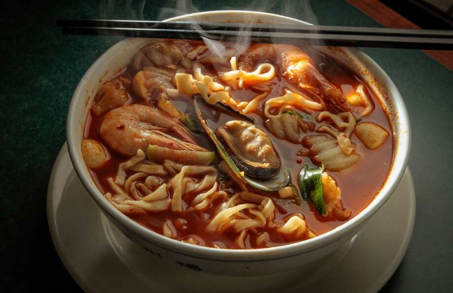 The Seafood Noodle Soup at Shanghai Winter Garden in Millbrae.