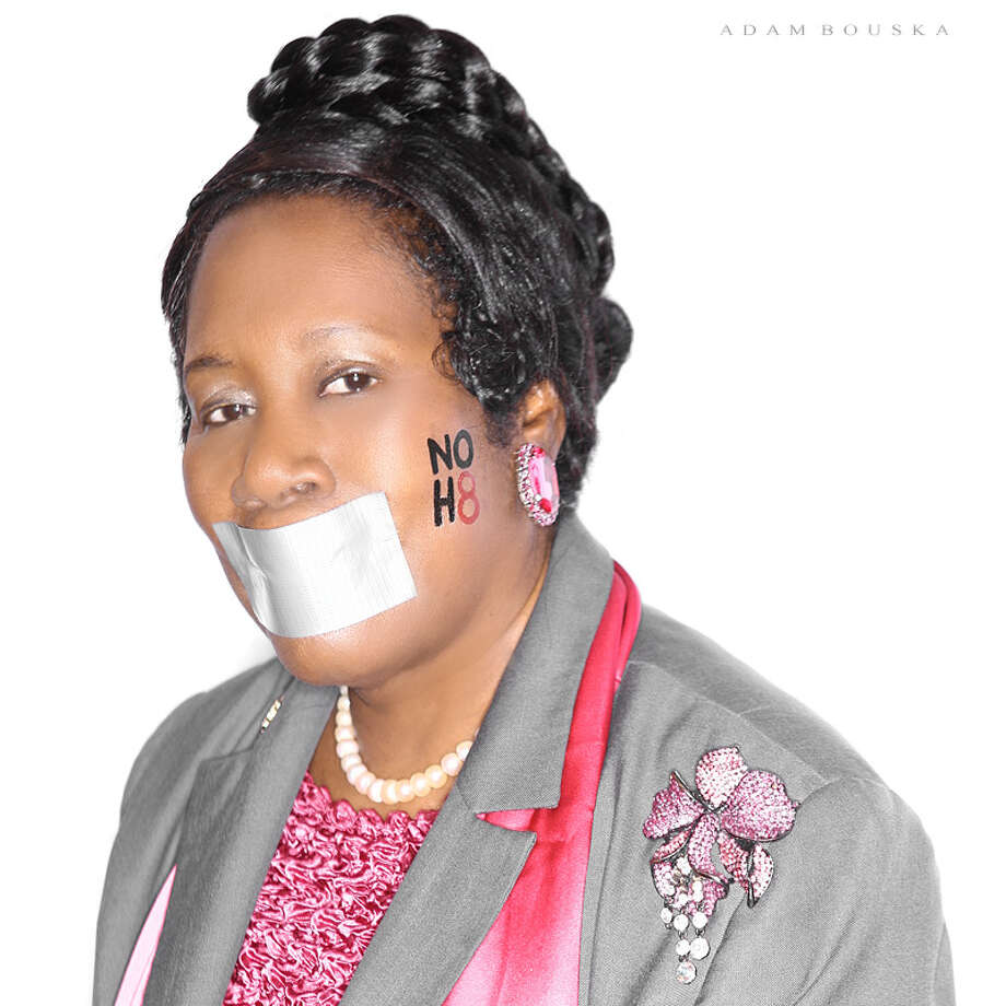 EQUAL RIGHTS:Rep. Sheila Jackson Lee also joined the NOH8 (No Hate) campaign for gender and marriage equality.