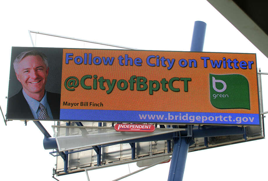 The city of Bridgeport is running a rotating series of displays on the new digital billboard facing I-95 in front of the Webster Bank Arena in Bridgeport, Conn. on Thursday, March 28, 2013. Photo: Brian A. Pounds / Connecticut Post