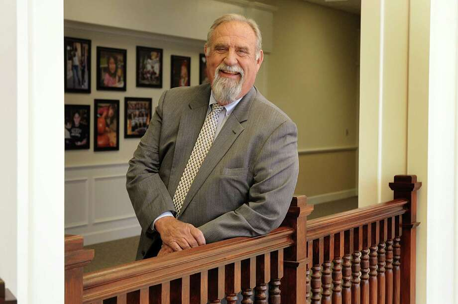 Tomball ISD Superintendent John Neubauer enjoys the view from the second floor landing at the Tomball ISD administrative offices.  Neubauer will retire at the end of this school year. Photo: David Hopper, Freelance / freelance
