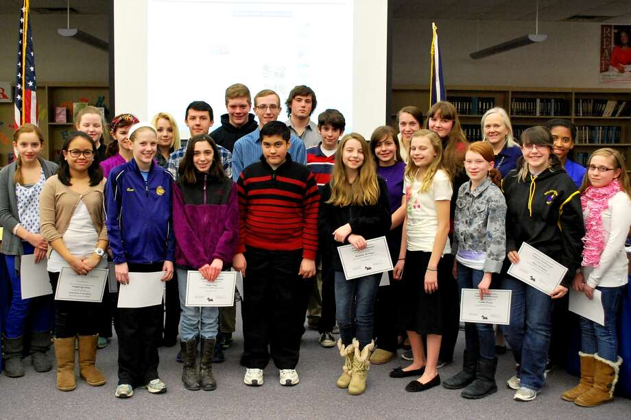 Ballston Spa students who were honored by the school board for participation in All County music festivals this winter gather for a group shot. (Ballston Spa School District)