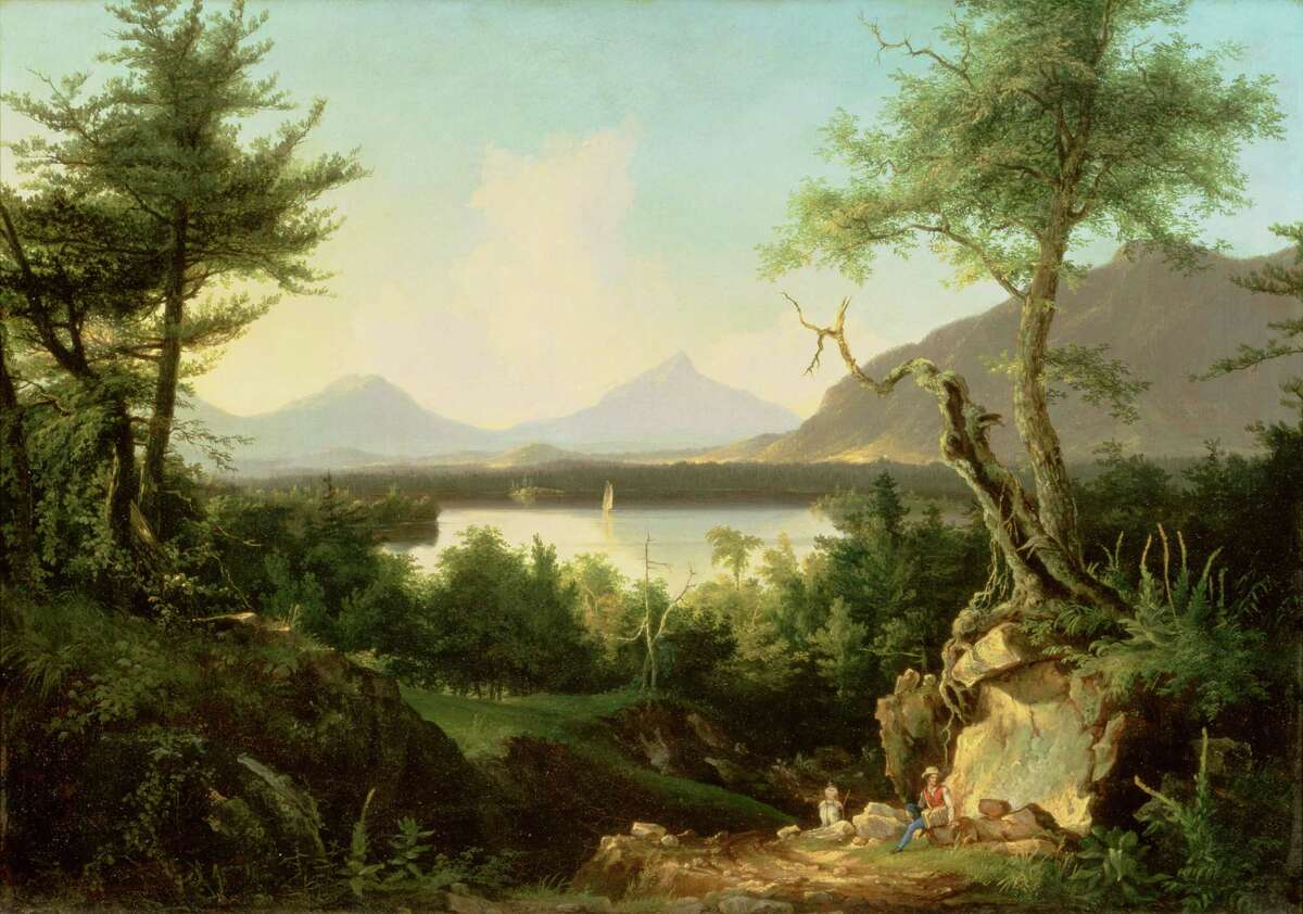 """Lake Winnepesaukee Thomas Cole (1801-1848) 1827 or 1828 Oil on canvas; 25 1/2"""" x 35 1/4"""" signed lower left: T.Cole (Albany Institute of History & Art, Gift of Dorothy Treat Arnold (Mrs. Ledyard) Cogswell, Jr. 1949.1.4)"""