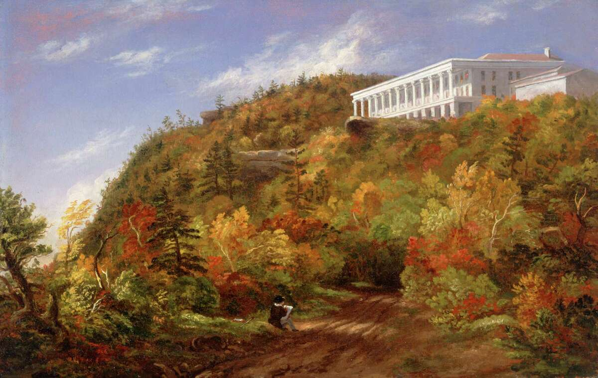 """A View of the Catskill Mountain House Sarah Cole 1848, ht.15 1/3"""" x w.23 3/8"""" Albany Institute of History & Art, 1964.040"""