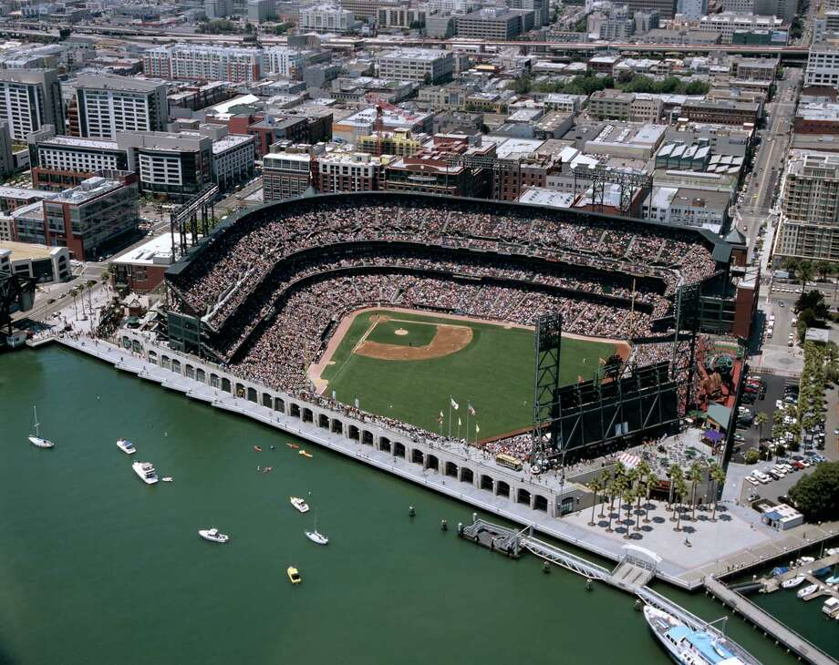 16. AT&T Park, home of the San Francisco Giants. Homes cost  $653 per square foot, 1.33 times the area average and the most of any  stadium neighborhood. Photo: San Francisco Giants, MLB Photos Via Getty Images / 2006 San Francisco Giants