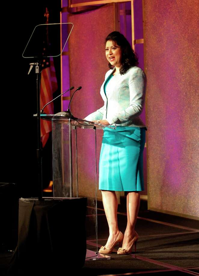 Dr. Lauera G. Murillo President of the Houston Hispanic Chamber of Commerce speaks at the Houston Hispanic Chamber of Commerce Luncheon at the Hilton America Hotel in Houston, Texas. Photo: Thomas B. Shea, Houston Chronicle / © 201c Thomas B. Shea