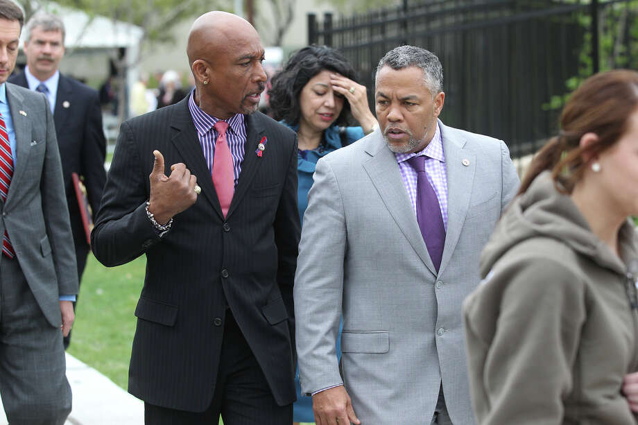 Montel Williams walks with Ranger Jones at the dedication of a new Fisher House at 7485 Wurzbach Road in the South Texas Medical Center on  March 27, 2013. Photo: TOM REEL