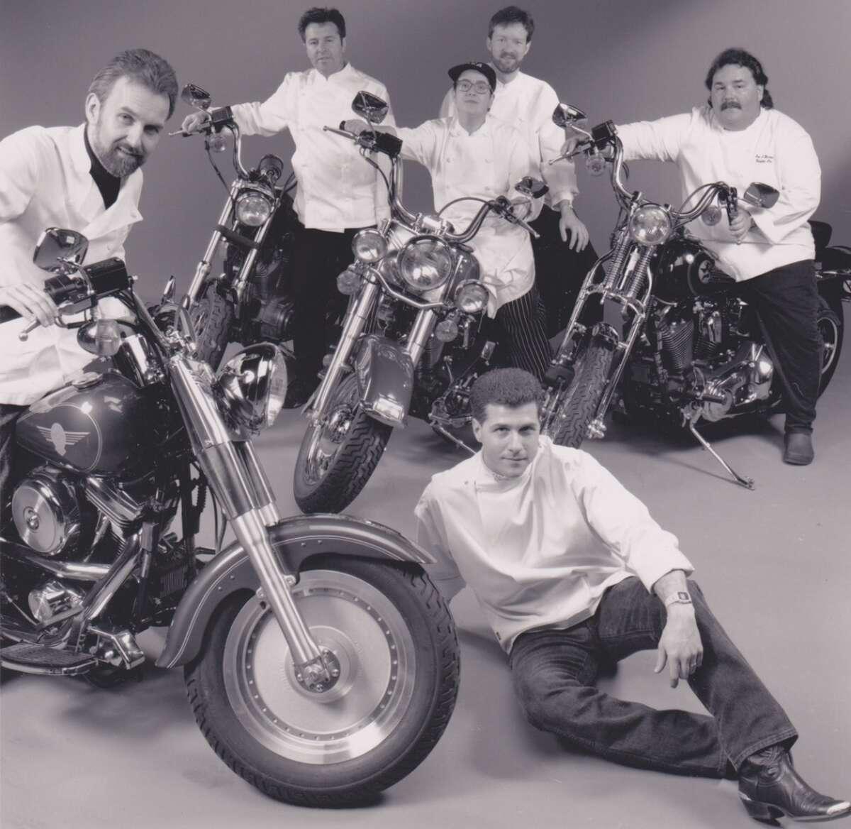 Chefs AND Motorcycles! From left to right clockwise: Hubert Keller (Fleur de Lys), Julian Serrano (Masa's), Elka Gilmore (Elka), David Gingrass (Postrio), Jan Birnbaum (Campton Place), and Michael Chiarello (Tra Vigne), 1993.