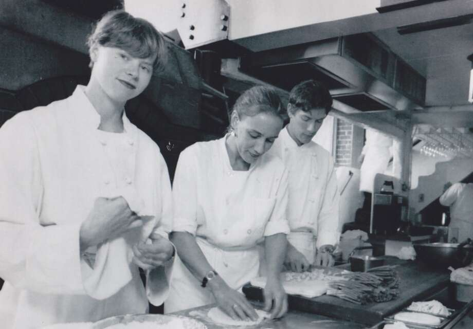 Future Foreign Cinema power couple Gayle Pirie (left) and John Clark (far right) while they were sous chefs at Zuni, 1992. Carol Bever is in the middle.
