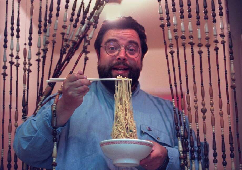 New York restaurant mogul Drew Nieporent enjoys noodles in North Beach, 1994