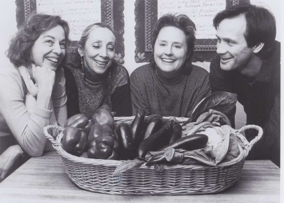 From left: Lindsey Shere of Chez Panisse, with Joyce Goldstein, Alice Waters and Paul Bertolli, 1985