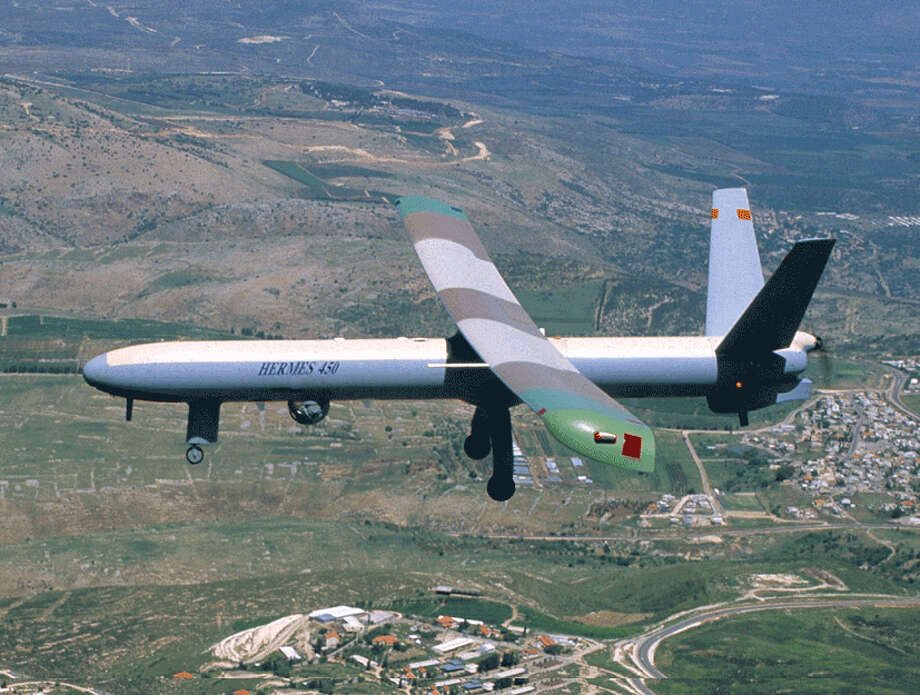 This undated handout from Elbit Systems Ltd. shows a Hermes 450 unmanned airborn vehicle in flight. Photo: Getty Images / 2004 Getty Images
