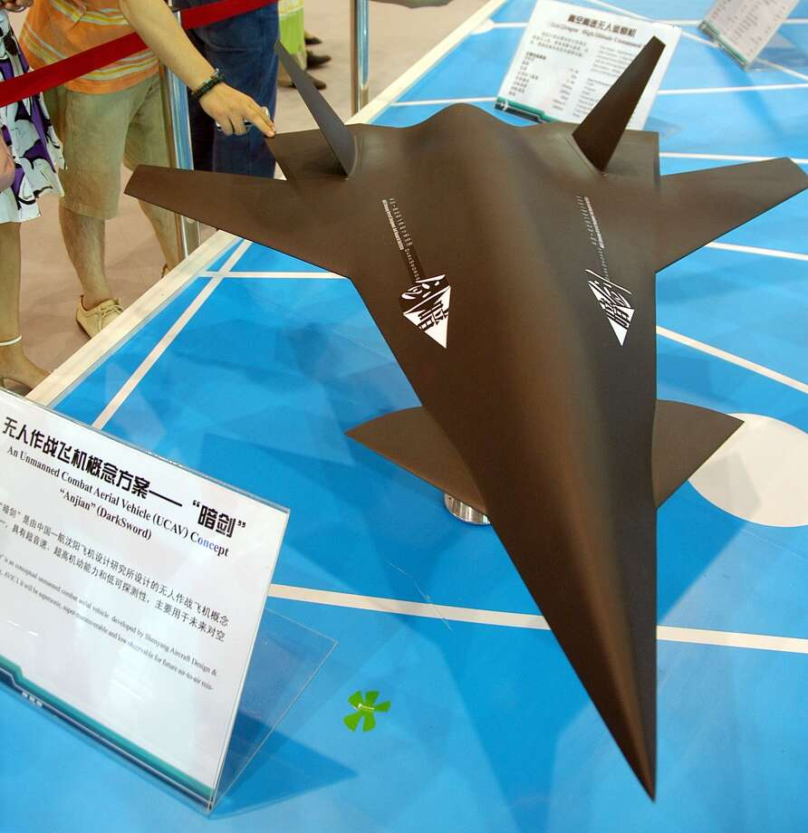 A model of a drone fighter plane is displayed at the 6th China International Aviation and Aerospace Exhibition on October 31, 2006, in Zhuhai, China. Photo: ChinaFotoPress, Getty Images / 2006 ChinaFotoPress