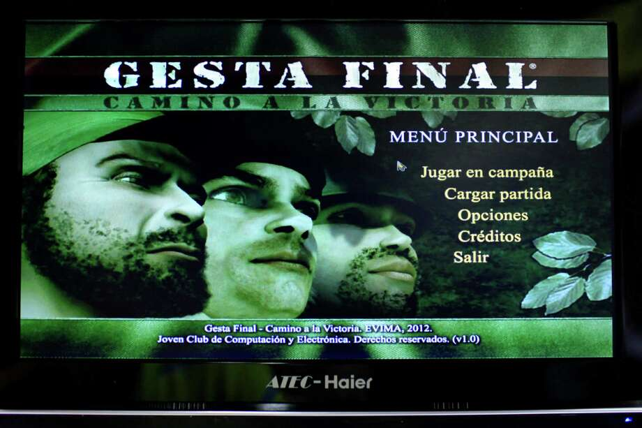 "A video screen displays the menu page for the game ""Gesta Final"" - which translates roughly as ""Final Heroic Deed,"" at a technology fair in Havana. Photo: Franklin Reyes, STR / AP"