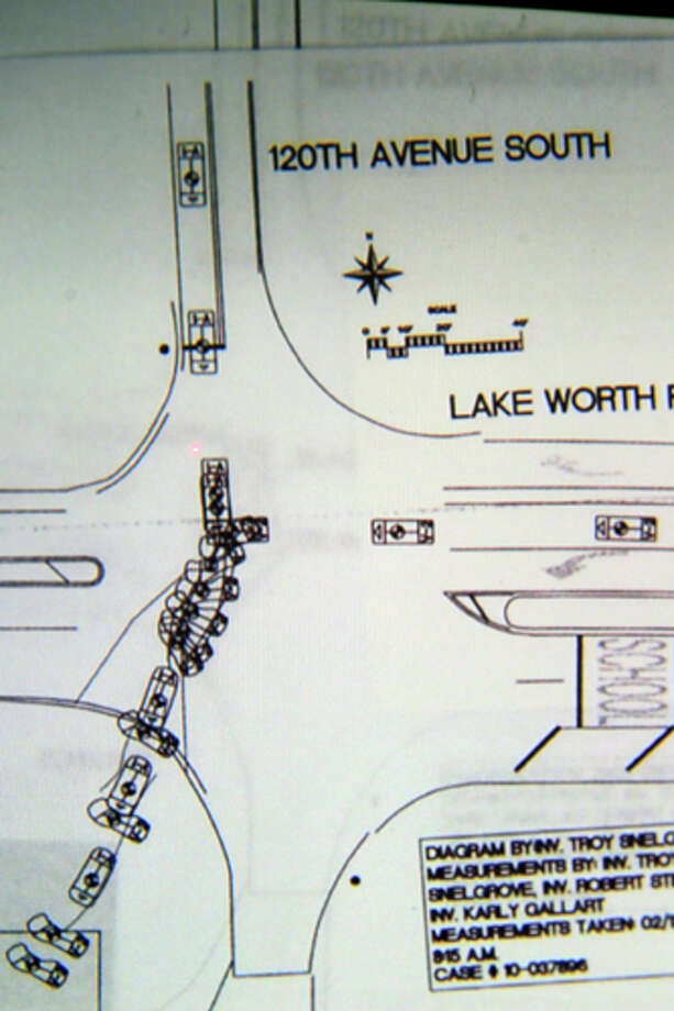 A diagram by police showing the crash scene  is shown during testimony in John Goodman's DUI Manslaughter trial on Thursday, March, 15, 2012, in West Palm Beach, Fla.  Goodman is accused of driving drunk and leaving the scene of the February 2010 crash that killed 23-year-old Scott Wilson. (AP Photo/The Palm Beach Post, Lannis Waters, Pool) Photo: Lannis Waters, Associated Press / Pool, Palm Beach Post