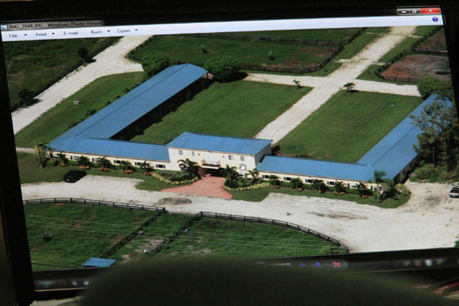 An aerial view of Kris Kampsen's horse stables and the man cave is used during testimony in John Goodman's DUI manslaughter trial Friday, March, 16, 2012, in West Palm Beach, Fla. Goodman is accused of driving drunk and leaving the scene of the February 2010 crash that killed Scott Wilson, 23. (AP Photo/The Palm Beach Post, Lannis Waters, Pool) Photo: Lannis Waters, Associated Press / The Palm Beach Post, Pool