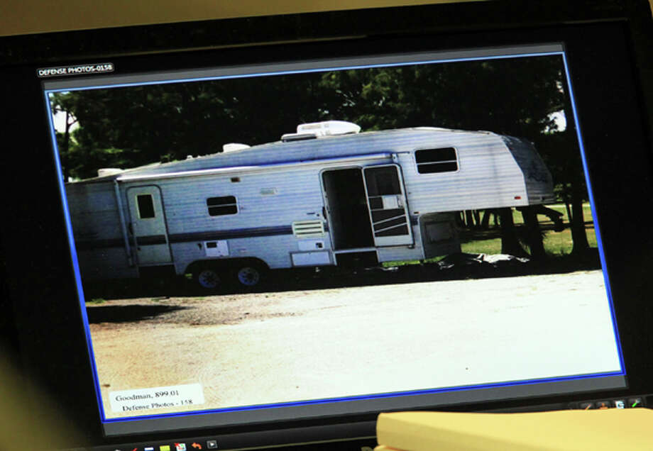 This  Thursday, March 15, 2012, photo, shows a photo shown in court of the trailer where witness  Lisa Pembleton lived during the  DUI manslaughter trial of John Goodman, in West Palm Beach, Fla. Goodman is accused of driving drunk and leaving the scene of the February 2010 crash that killed 23-year-old Scott Wilson. (AP Photo/The Palm Beach Post, Lannis Waters, Pool) Photo: Lannis Waters, Associated Press / The Palm Beach Post, Pool