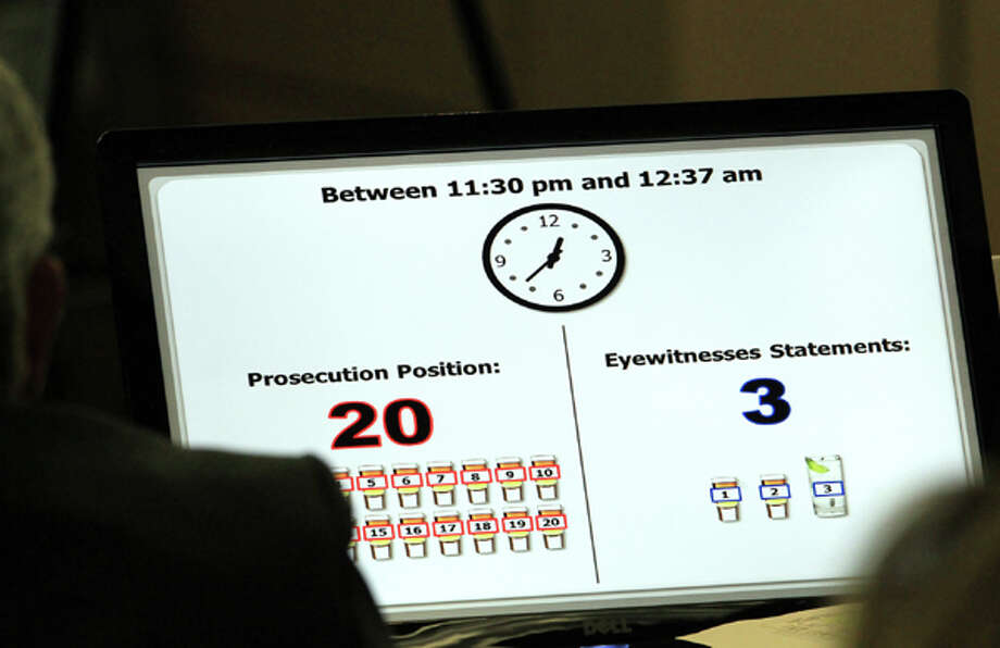 A computer screen showing how many drinks the prosecution alleges John Goodman had versus eyewitness statements of how much he had is shown during  John Goodman's DUI Manslaughter trial in West Palm Beach, Fla., Tuesday, March 13, 2012. Goodman is accused of driving drunk and leaving the scene of the February 2010 crash that killed 23-year-old Scott Wilson.  (AP Photo/The Palm Beach Post, Lannis Waters, Pool) Photo: Lannis Waters, Associated Press / Palm Beach Post