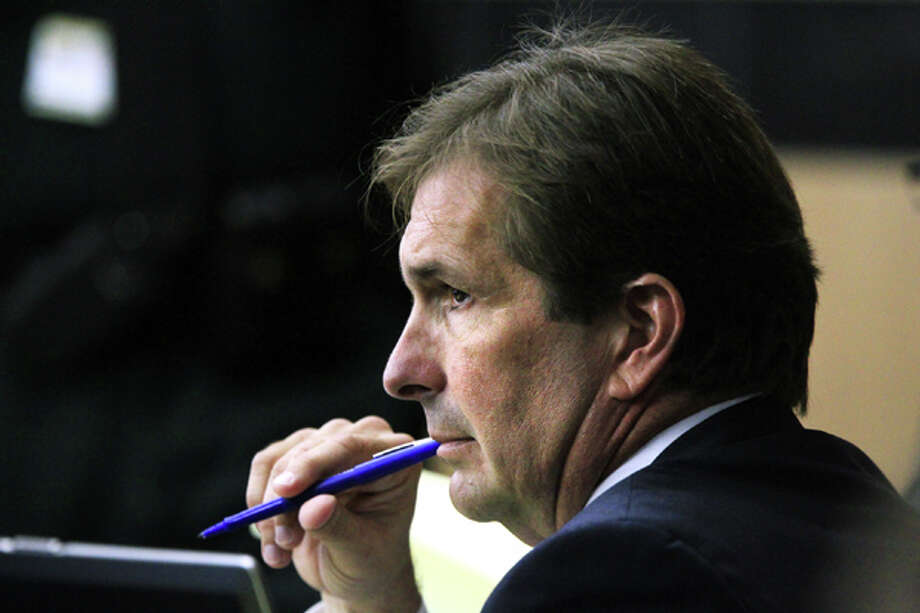 John Goodman listens to testimony during the second day of his trial on Wednesday, March 14, 2012 , in West Palm Beach, Fla. Goodman, the founder of the International Polo Club Palm Beach, is accused of driving drunk and leaving the scene of the February 2010 crash that killed 23-year-old Scott Wilson. (AP Photo/The Palm Beach Post, Lannis Waters, Pool) Photo: Lannis Waters, Associated Press / Pool, Palm Beach Post
