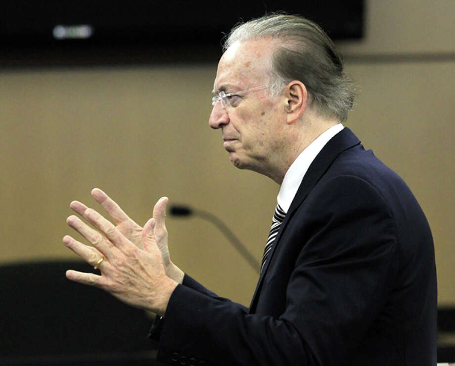 Defense attorney Roy Black makes his open statements to jurors on the first day of John Goodman's DUI Manslaughter trial in West Palm Beach, Fla., Tuesday, March 13, 2012. Goodman is accused of driving drunk and leaving the scene of the February 2010 crash that killed 23-year-old Scott Wilson.  (AP Photo/The Palm Beach Post, Lannis Waters, Pool) Photo: Lannis Waters, Associated Press / Pool, The Palm Beach Post