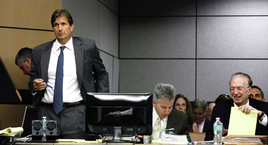 John Goodman, left, stands next to his defense attorneys, Mark Shapiro, center and Roy Black right on the first day of his DUI Manslaughter trial on Tuesday, March 13, 2012 in West Palm Beach, Fla. Goodman is accused of driving drunk and leaving the scene of the February 2010 crash that killed 23-year-old Scott Wilson.  (AP Photo/The Palm Beach Post, Lannis Waters, Pool) Photo: Lannis Waters, Associated Press / Pool, The Palm Beach Post