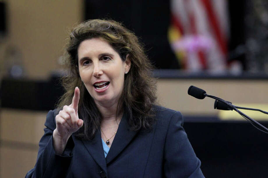 Assistant State Attorney Sherri Collins speaks to potential jurors during the third day of jury selection in the drunken-driving manslaughter case of multimillionaire polo mogul John Goodman, Thursday, March 8, 2012 in West Palm Beach, Fla. (AP Photo/Palm Beach Post, Lannis Waters, Pool) Photo: Lannis Waters, Associated Press / Palm Beach Post