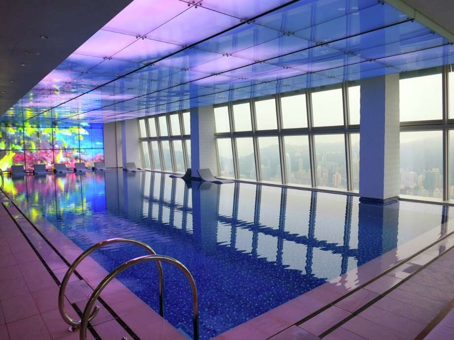 Main pool on the 118th (!) floor at the Ritz-Carlton Hong Kong