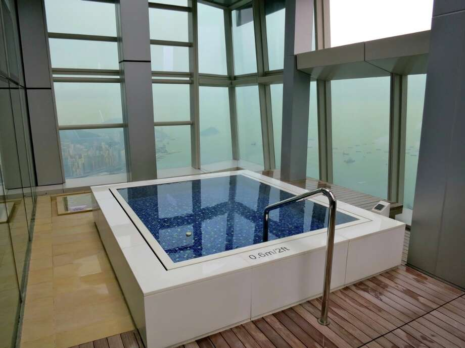 Hot tub (with a view from 118 stories up!) at the Ritz-Carlton Hong Kong