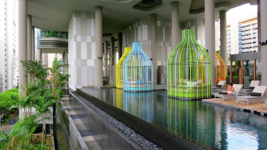 Cool pool and gazebos on a ledge at the brand new Parkroyal on Pickering hotel in Singapore