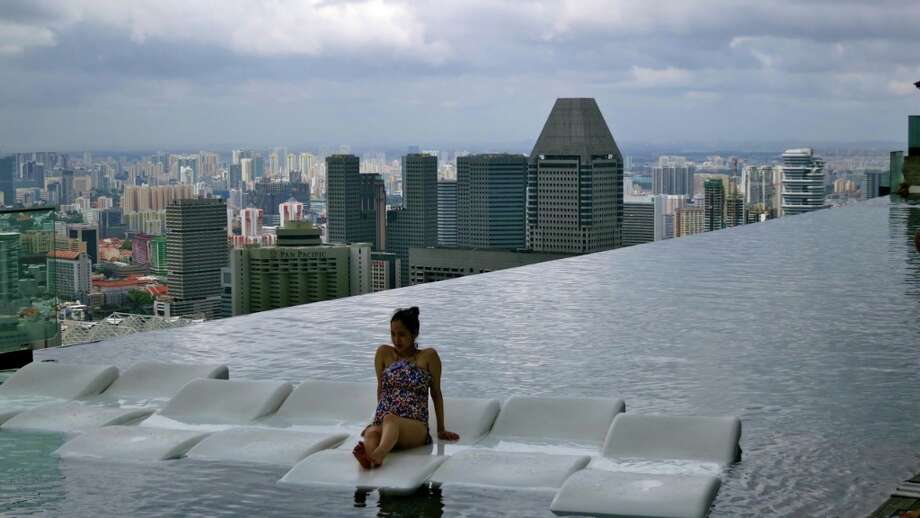 Floating on the edge of infinity at the Marina Bay Sands hotel in Singapore