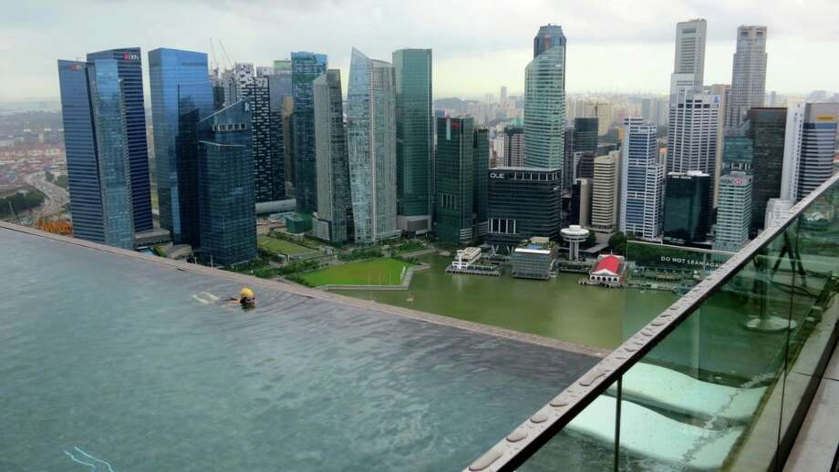 A giant 100 meter pool on the top of the Marina Bay Sands in Singapore