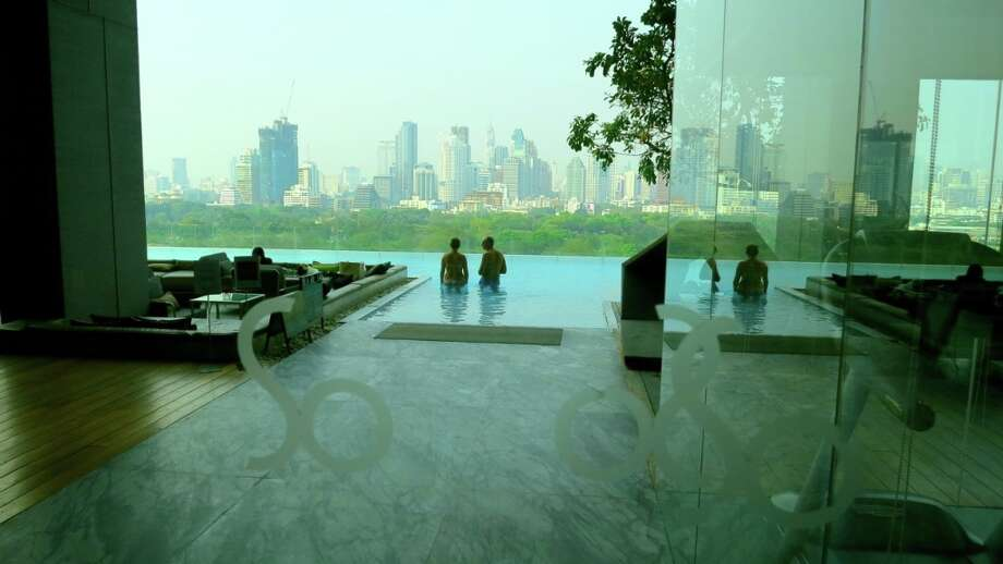 The pool at the Sofitel So Bangkok overlooks Lumphini Park, the muggy city's version of Central Park