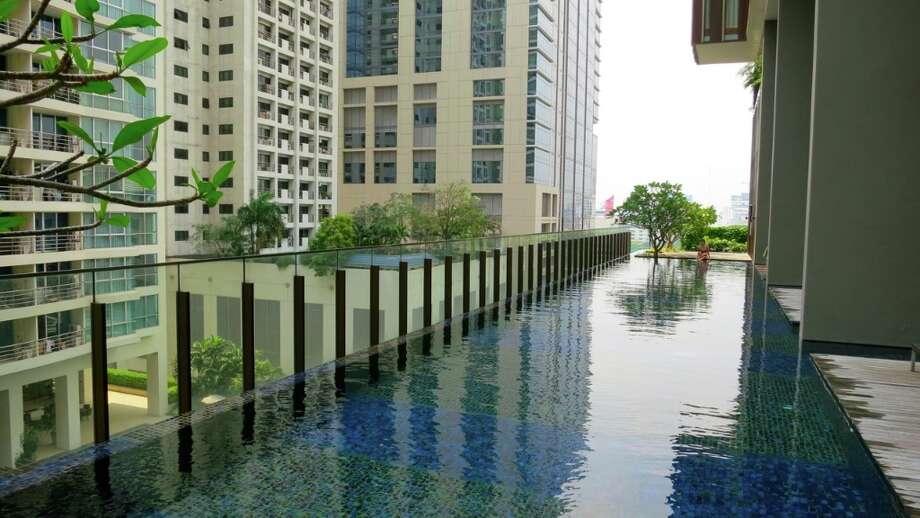 The pool at the sexy Hansar Hotel in downtown Bangkok