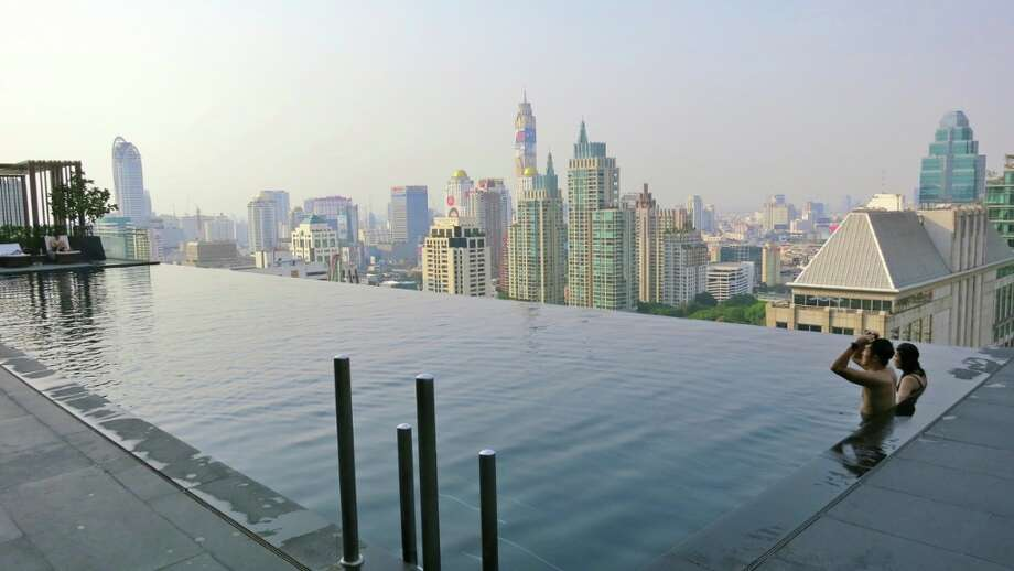 The infinity pool on the roof of the brand new Hotel Okura Prestige in Bangkok