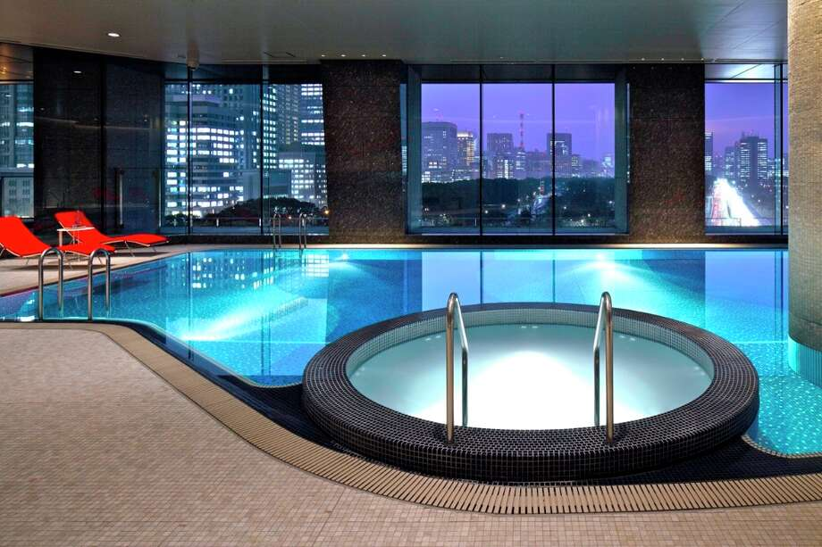 Look out at the Tokyo skyline from this classy pool at the Palace Hotel in Tokyo.