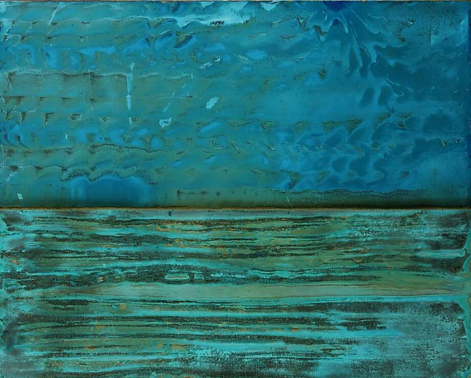 """Dominica"" by abstract artist Stephen Bruce was inspired by the Caribbean island's ""green of the Atlantic and the blue of the sky."" Photo: Courtesy Of The Artist"